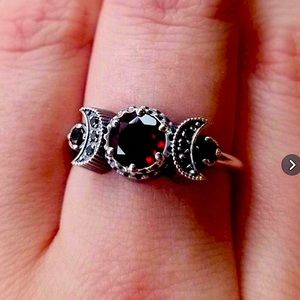 Moon Crescent 🌚Star⭐️Onyx Red Ruby 925 Sterling